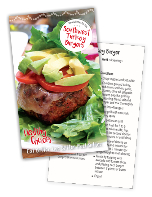 01 Turkey Burger Recipe Card front and Back